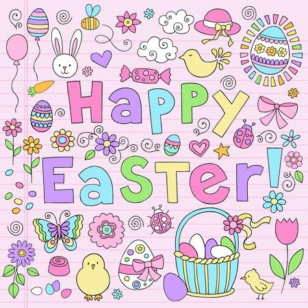 Easter Springtime Hand Drawn Notebook Doodles Vector Design Elements Set on Lined Sketchbook Paper Background. Vettoriali
