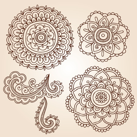 Henna Mehndi Flower Doodles Abstract Floral Paisley Design Elements Vector Illustration Vettoriali