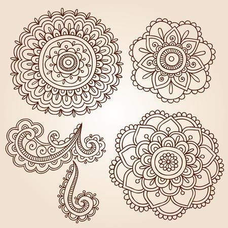 henna design: Henna Mehndi Garabatos de flores Resumen Dise�o Floral Paisley Elementos Ilustraci�n Vector
