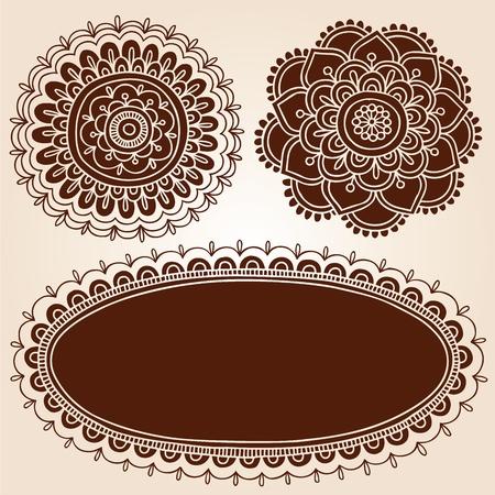 Henna Mehndi Blumen-Mandala Paisley Silhouette Design Elements Vector Illustration