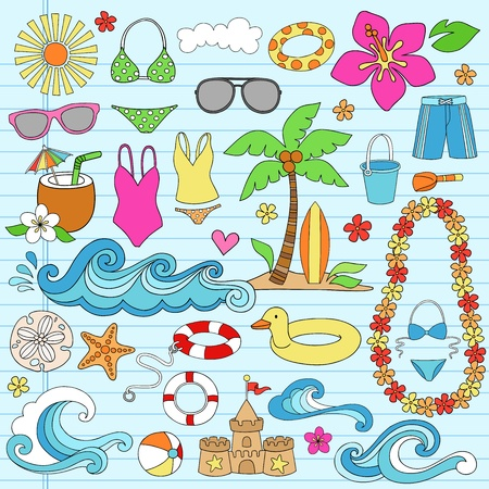 Summer Vacation Notebook Doodle Design Elements Set on Blue Lined Sketchbook Paper Background- Vector Illustration Vector