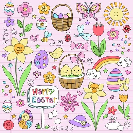 joyeuses p�ques: Joyeuses P�ques Doodles portables Design Elements Vector Set avec Jonquilles, lapin, oeufs Eater, et les poussins sur fond ray� de papier � dessin, Illustration