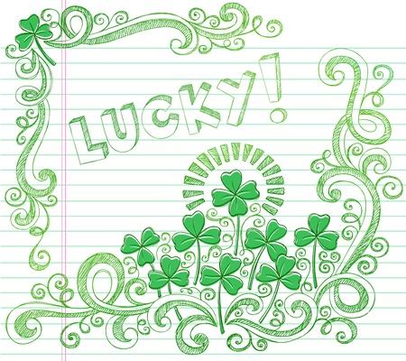 four leaf: D�a de San Patricio suerte tr�bol de cuatro hojas del tr�bol incompleto Volver Doodle al estilo Escuela de Ilustraci�n Vector port�til Doodles en el fondo forrado de papel Sketchbook Vectores