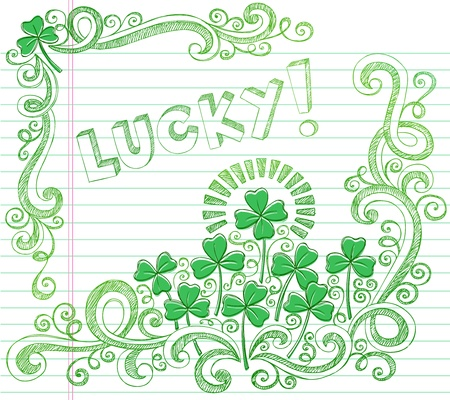 St Patricks Day Lucky Four Leaf Clover Shamrock Sketchy Doodle Back to School Style Notebook Doodles Vector Illustration on Lined Sketchbook Paper Background