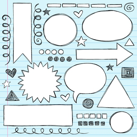 Sketchy Frames and Borders Hand-Drawn Notebook Doodles Set. Stock Vector - 12411862