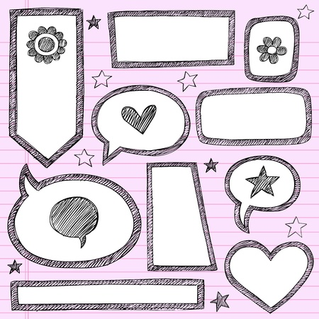Sketchy School Shape Frames and Speech Bubbles Hand-Drawn Notebook Doodles Set. Çizim