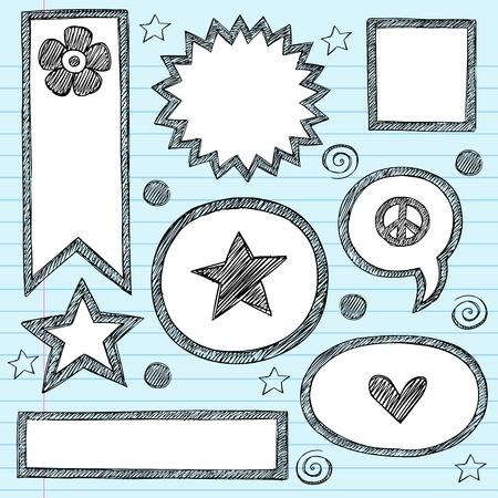 forme: Sketchy Cadres Shape scolaires et de Speech Bubbles main-Drawn Doodles portables Set. Illustration