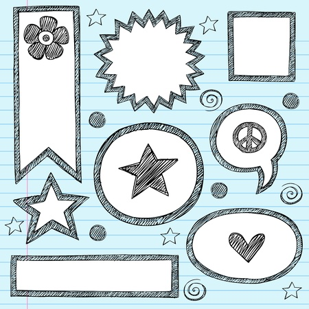 sketchy: Sketchy School Shape Frames and Speech Bubbles Hand-Drawn Notebook Doodles Set. Illustration
