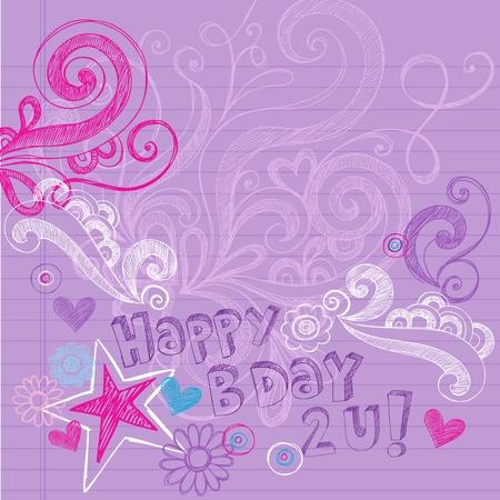 happy birthday party: Fiesta de Cumplea�os Feliz Sketchy Regreso a la Escuela dibujados a mano Doodles port�tiles Ilustraci�n Vector elementos de dise�o en el fondo forrado de papel Sketchbook