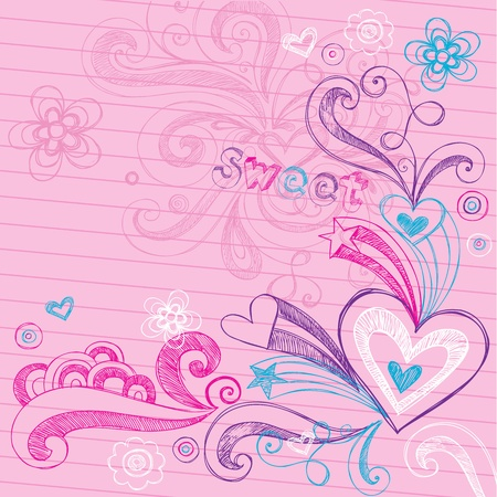 Sketchy Back to School Hand-Drawn Hearts and Stars Sketchy Notebook Doodles Vector Illustration Design Elements on Lined Sketchbook Paper Background Vector