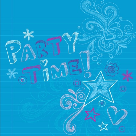 Happy Birthday Party Time Sketchy Back to School Hand-Drawn Notebook Doodles Vector Illustration Design Elements on Lined Sketchbook Paper Background Ilustração