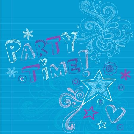 party time: Happy Time f�te d'anniversaire de Sketchy Retour � l'�cole dessin�s � la main Doodles Elements Portable conception Illustration Vecteur Images sur fond ray� de papier � dessin,