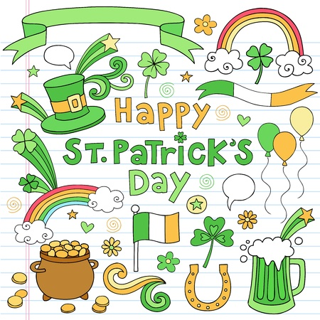 clover banners: St Patricks Day Icon Set Notebook Doodles Vector Illustration Design Elements on Lined Sketchbook Paper Background Illustration