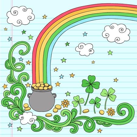 the end of a rainbow: St Patricks Day Final del Arco Iris de Oro Pot Elementos Notebook Doodle vectoriales, dise�o, ilustraci�n en el fondo forrado de papel Sketchbook Vectores