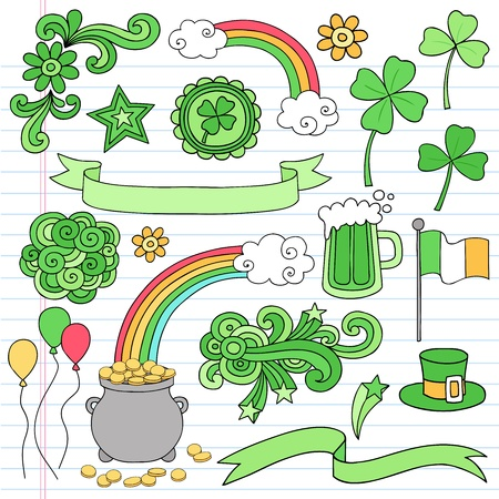 St Patricks Day Icon Set Notebook Doodles Vector Illustration Design Elements on Lined Sketchbook Paper Background Vector