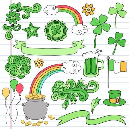 St Patricks Day Icon Set Notebook Doodles Vector Illustration Design Elements on Lined Sketchbook Paper Background Vector