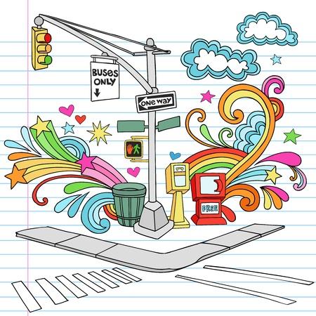 줄 지어 스케치 북 종이 배경 - 손에 뉴욕시 맨해튼의 보도 코너 노트북 낙서 디자인 요소를 설정 벡터 일러스트를 그린
