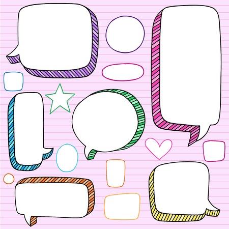 マンガの吹き出し: バルーンは、ノートの落書き - 学校手描きデザイン素材が並ぶスケッチ用紙背景ベクトル イラストに戻るフレームします。