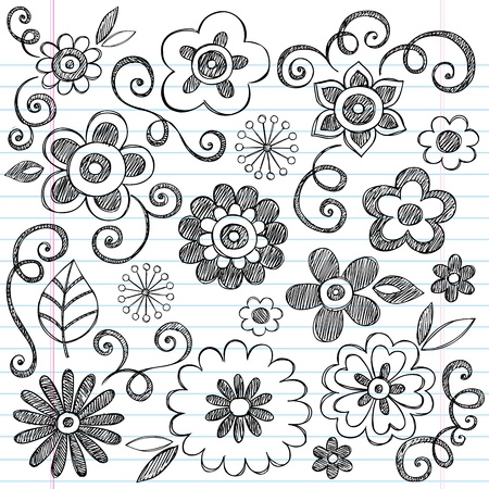 creepers: Flowers Sketchy Doodles Hand-Drawn Back to School Notebook Vector Illustration Design Elements on Lined Sketchbook Paper Background