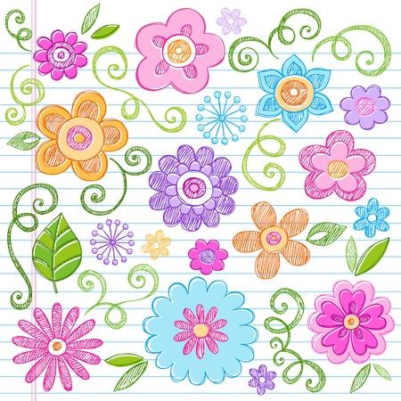 carta da lettere: Fiori Doodles colorati disegnati a mano Hand-Drawn Back to School Elementi di design per notebook illustrazioni vettoriali su sfondo Lined Paper Sketchbook Vettoriali