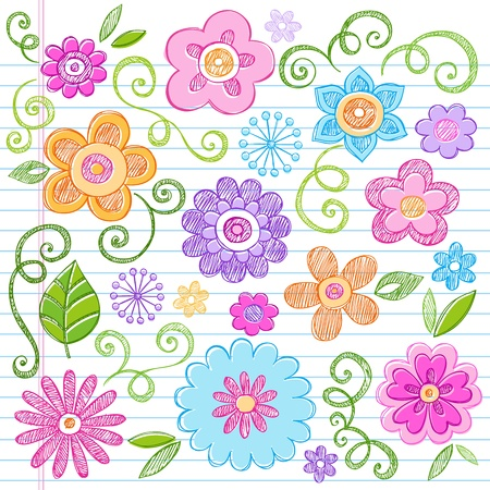 scribble: Flowers Colorful Sketchy Doodles Hand-Drawn Back to School Notebook Vector Illustration Design Elements on Lined Sketchbook Paper Background