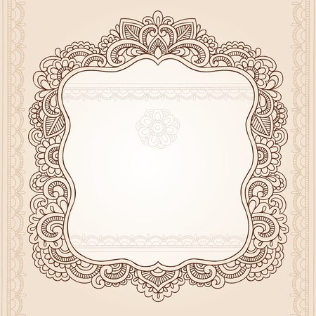 Henna Vintage Frame Mehndi Doodles Paisley Design Elements- Vector Illustration Vector