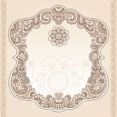 Henna Vintage Frame Mehndi Doodles Paisley Design Elements- Vector Illustration