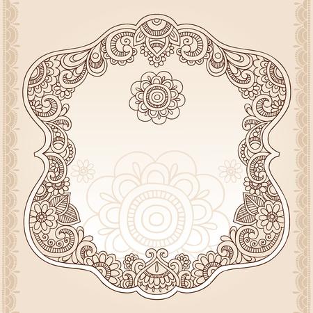 indianin: Henna Vintage Doodles Mehndi Rama Projekt Paisley Elementy-Vector Illustration