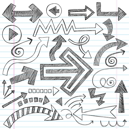 Hand-Drawn Sketchy Doodle Direction Arrow Notebook Doodles Vector Illustration Design Elements Set Stock Vector - 12496509