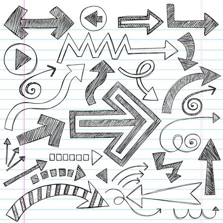 Hand-Drawn Sketchy Doodle pijl Notebook Doodles Vector Illustratie Ontwerp Elementen Set Stock Illustratie