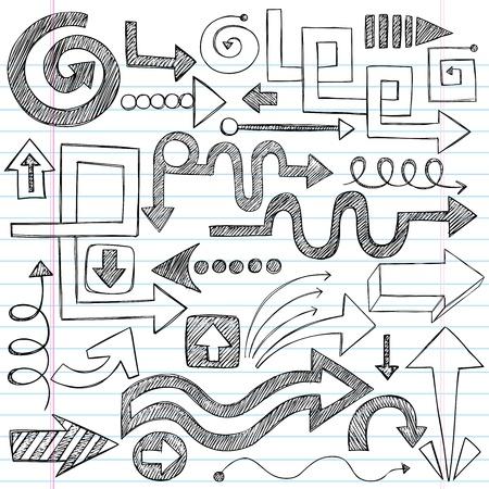 sketchbook: Hand-Drawn Sketchy Doodle Direction Arrow Notebook Doodles Vector Illustration Design Elements Set Illustration
