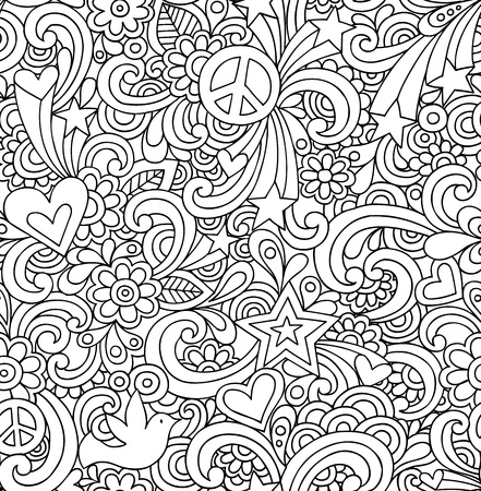 Seamless Pattern Psychedelic Groovy Peace Notebook Doodle Design- Hand-Drawn Vector Illustration Background Vector