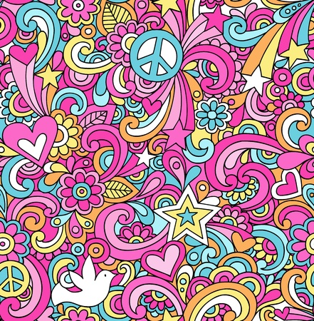 peace and love: Seamless Pattern Psychedelic Groovy Peace Notebook Doodle Design- Hand-Drawn Vector Illustration Background