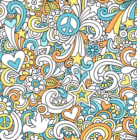 Seamless Pattern Psychedelic Groovy Peace Notebook Doodle Design- Hand-Drawn Vector Illustration Background