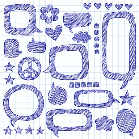 Speech Bubbles Sketchy Doodle Hand-Drawn Icon Set- Vector Illustration Design Elements on Lined Sketchbook Paper Background Vector