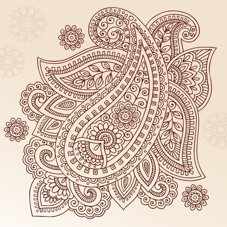 henna design: Henna Mehndi Paisley Doodles Abstract Floral Illustrazione Element disegno vettoriale Vettoriali