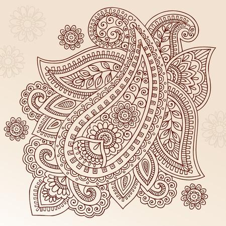 disegni cachemire: Henna Mehndi Paisley Doodles Abstract Floral Illustrazione Element disegno vettoriale Vettoriali