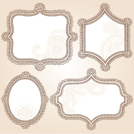 Henna Vintage Frames Mehndi Doodles Paisley Design Elements Set- Vector Illustration Vector