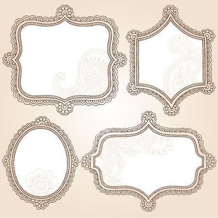 Henna Vintage Frames Mehndi Doodles Paisley Design Elements Set- Vector Illustration Vector