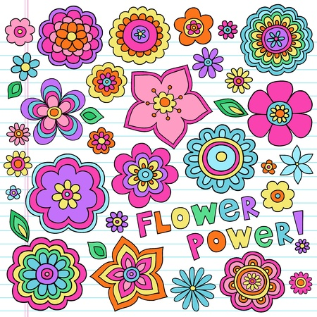 60s hippie: Flower Power Flowers Groovy Psychedelic Hand Drawn Notebook Doodle Design Elements Set on Lined Sketchbook Paper Background- Vector Illustration