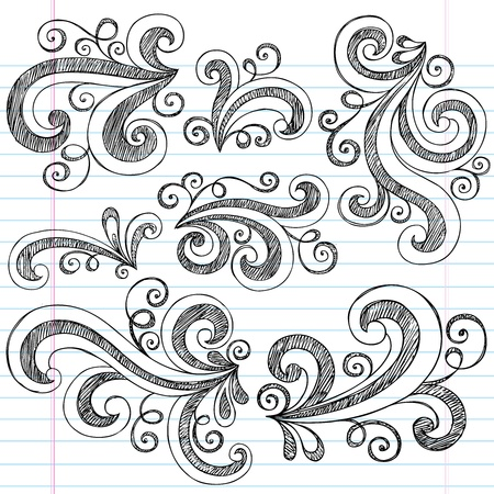 Sketchy Notebook Doodle Swirls - Hand-Drawn Design Elements Vector Illustration on Lined Sketchbook Paper Background Vector