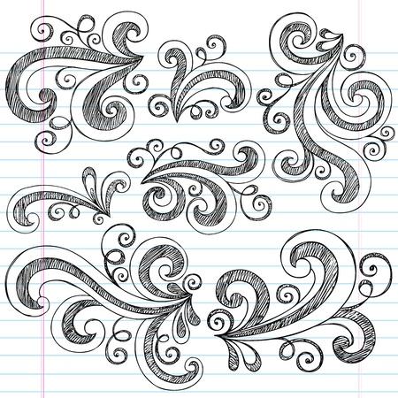 curls: Sketchy Notebook Doodle Swirls - Hand-Drawn Design Elements Vector Illustration on Lined Sketchbook Paper Background