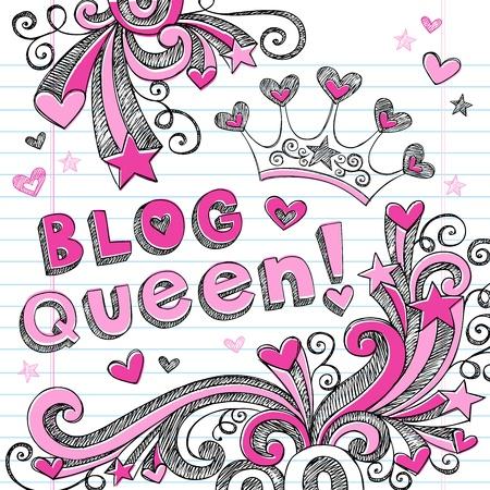 Hand-Drawn Sketchy Doodle Blog Queen Back to School Notebook Doodles Vector Illustration Design Elements Set Vettoriali