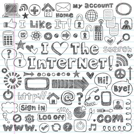 Hand drawn: Web  Computer Doodles Icon Set - I Love the Internet Back to School Style Sketchy Notebook Doodles Illustration Design Elements on LIned Sketchbook Paper