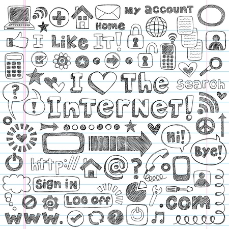 Web / Computer Doodles Icon Set - I Love the Internet Back to School Style Sketchy Notebook Doodles Illustration Design Elements on LIned Sketchbook Paper