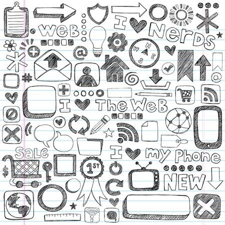 Web  Computer Doodle Icon Set - Back to School Style Sketchy Notebook Doodles Illustration Design Elements on LIned Sketchbook Paper