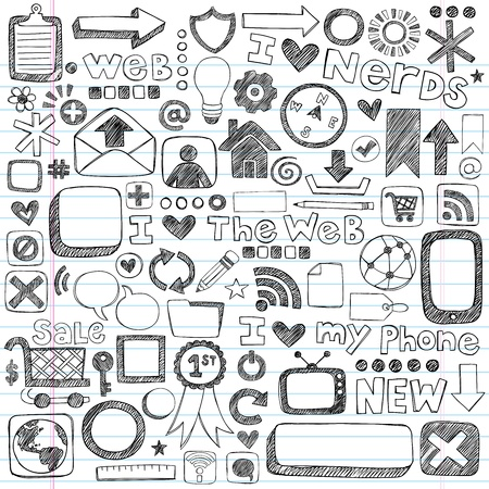 Web / Computer Doodle Icon Set - Back to School Style Sketchy Notebook Doodles Illustration Design Elements on LIned Sketchbook Paper Vettoriali