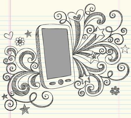 Hand-Drawn Cell Phone Sketchy Notebook Doodles with Swirls, Hearts, and Shooting Stars- Illustration Design Elements on Lined Sketchbook Paper Background Vector