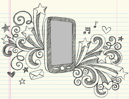 Cell Phone Sketchy Notebook Doodles with Swirls, Hearts, and Shooting Stars- Hand Draw Illustration Design Elements on Lined Sketchbook Paper Background Vector