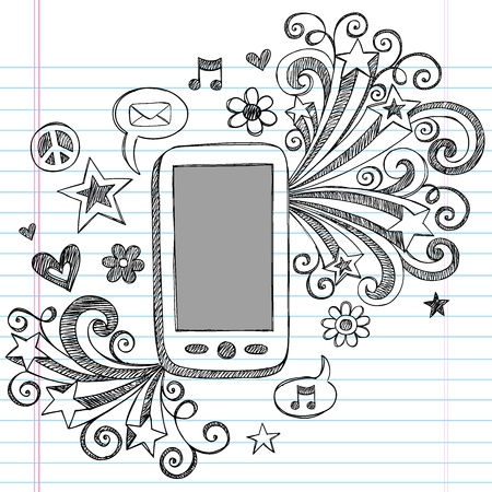 Cell Phone Mobile PDA Sketchy Hand-Drawn Notebook Doodles with Shooting Stars, Email Icon, Music, and Speech Bubbles-Illustration Design Elements on Lined Sketchbook Paper Background Vettoriali